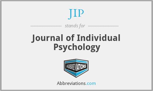 JIP - Journal of Individual Psychology