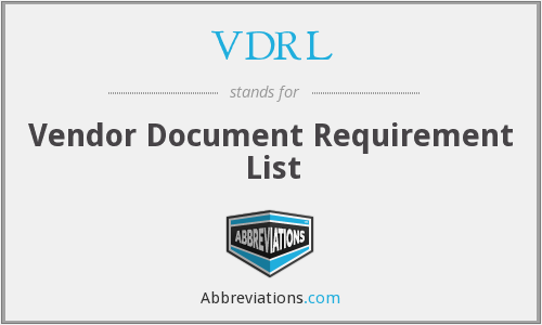 VDRL - Vendor Document Requirement List