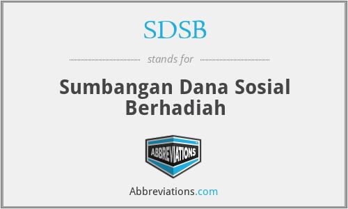 SDSB - Sumbangan Dana Sosial Berhadiah