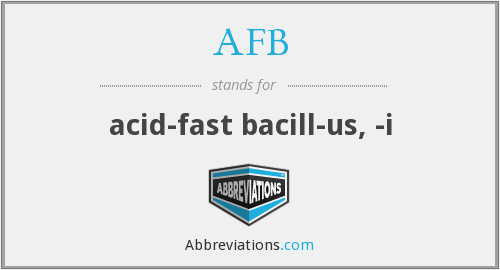 AFB - acid-fast bacill-us, -i