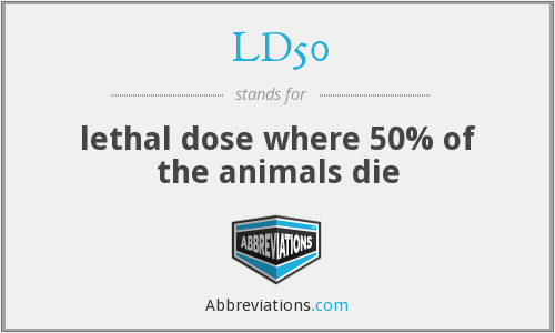 LD50 - lethal dose where 50% of the animals die