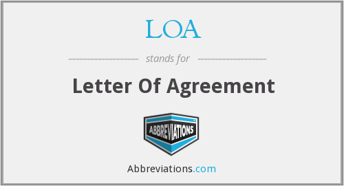 LOA - letter of agreement