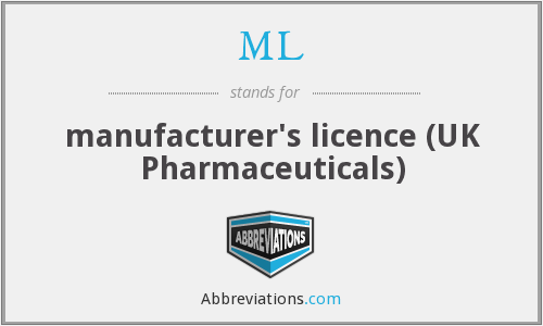 ML - manufacturer's licence (UK Pharmaceuticals)
