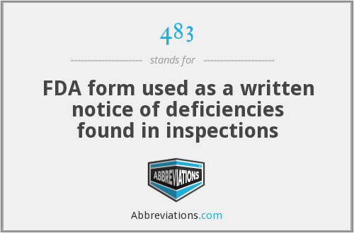 483 - FDA form used as a written notice of deficiencies found in inspections