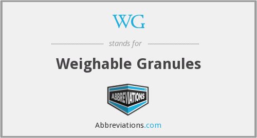 WG - Weighable Granules