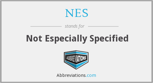 NES - Not Especially Specified