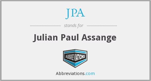 JPA - Julian Paul Assange:The initials of the sexy silver fox that runs Wikileaks. The BFG of the computer world. His silver hair flows in the wind and make girls faint when they look in his direction.