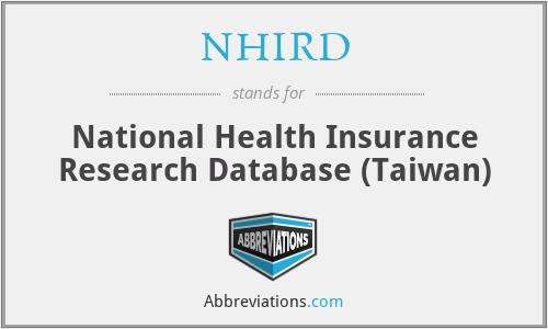 NHIRD - National Health Insurance Research Database (Taiwan)