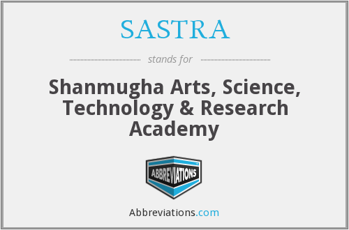 What does SASTRA stand for?