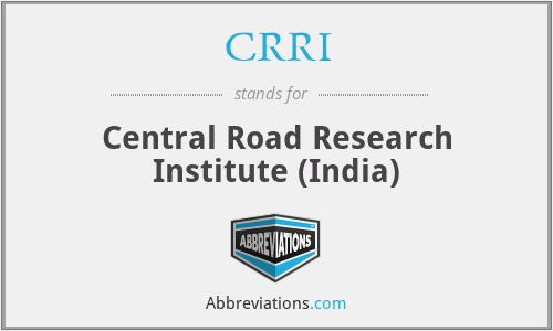 CRRI - Central Road Research Institute (India)