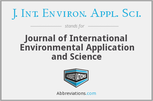 J. Int. Environ. Appl. Sci. - Journal of International Environmental Application and Science