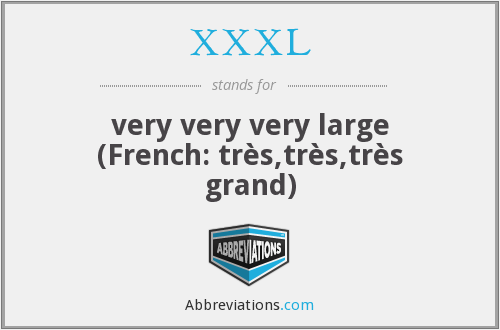 What does XXXL stand for?