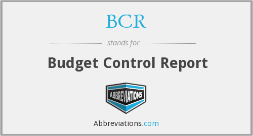 BCR - Budget Control Report