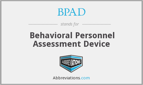 BPAD - Behavioral Personnel Assessment Device
