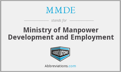 MMDE - Ministry of Manpower Development and Employment