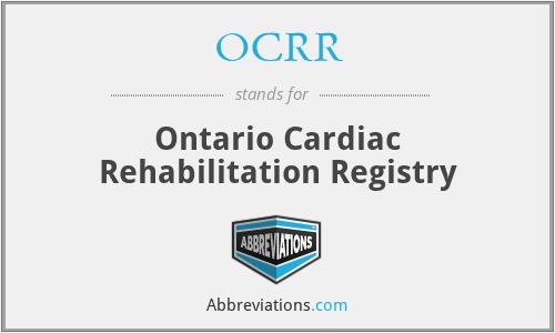 OCRR - Ontario Cardiac Rehabilitation Registry