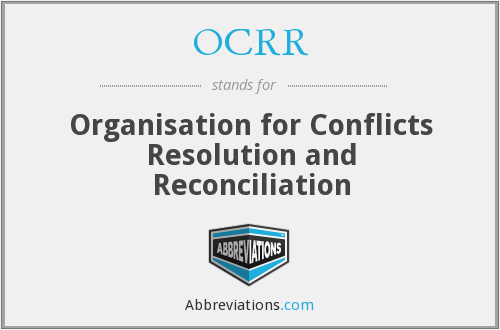 OCRR - Organisation for Conflicts Resolution and Reconciliation