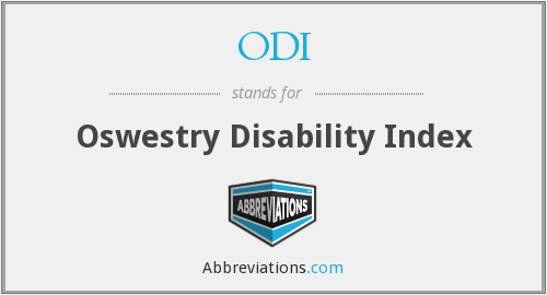 ODI - Oswestry Disability Index