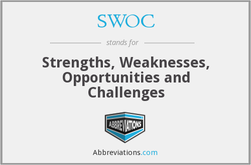 SWOC - strengths, weaknesses, opportunities and challenges