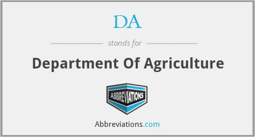 DA - Department Of Agriculture