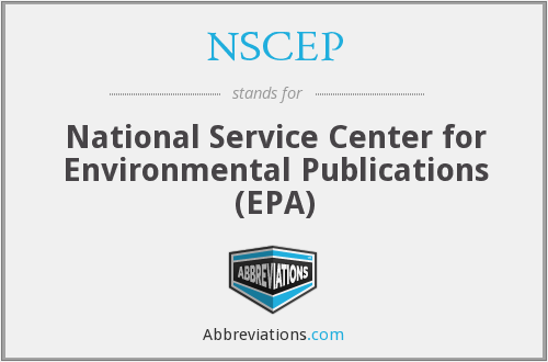 NSCEP - National Service Center for Environmental Publications (EPA)