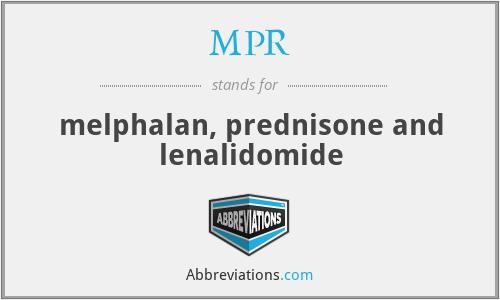MPR - melphalan, prednisone and lenalidomide