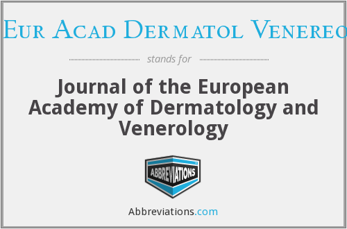 What does J EUR ACAD DERMATOL VENEREOL stand for?