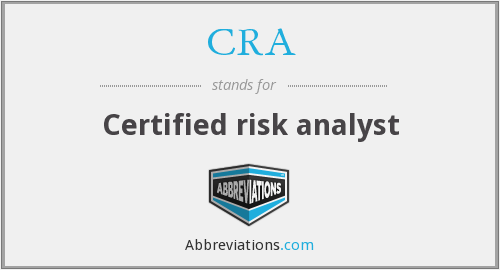 CRA - Certified risk analyst