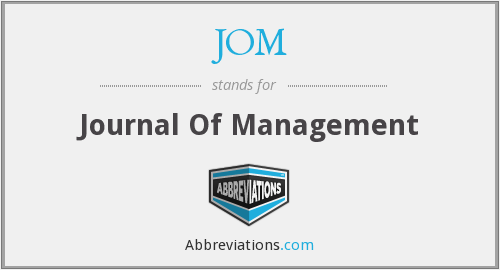 JOM - Journal Of Management