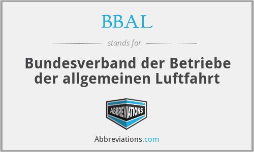 BBAL - Bundesverband der Betriebe der allgemeinen Luftfahrt