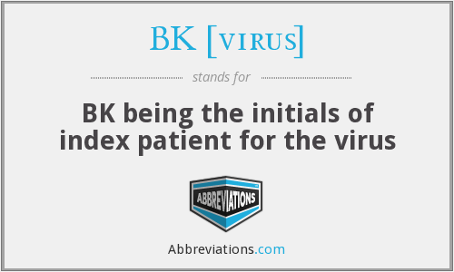 What Is The Abbreviation For BK Being Initials Of Index Patient Virus