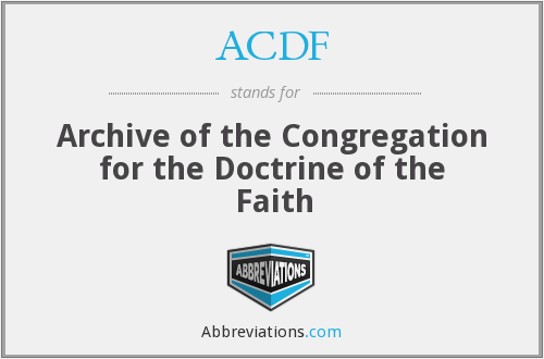 ACDF - Archive of the Congregation for the Doctrine of the Faith