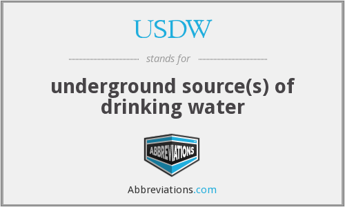USDW - underground source(s) of drinking water