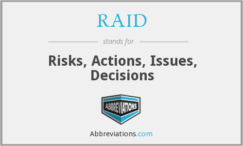RAID - Risks, Actions, Issues, Decisions