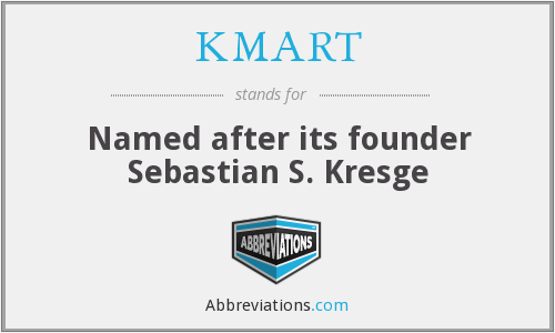 KMART - Named after its founder Sebastian S. Kresge