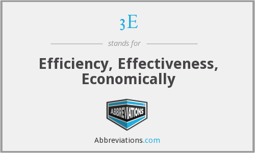 3E - Efficiency, Effectiveness, Economically