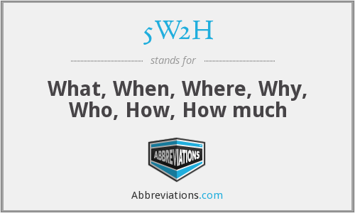 5W2H - What, When, Where, Why, Who, How, How much