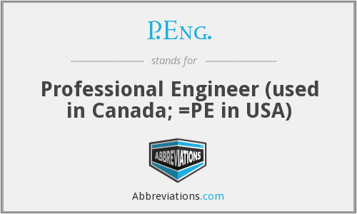 P.Eng. - Professional Engineer (used in Canada; =PE in USA)