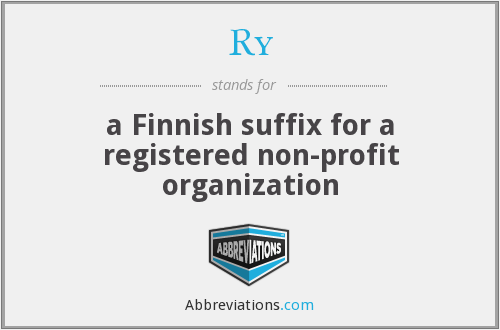Ry - a Finnish suffix for a registered non-profit organization