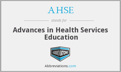 AHSE - Advances in Health Services Education
