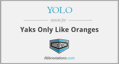 YOLO - Yaks Only Like Oranges