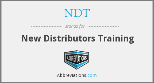 NDT - New Distributors Training