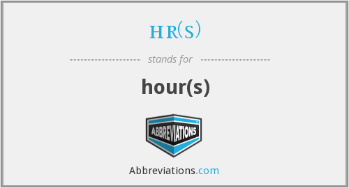 hr(s) - hour(s)