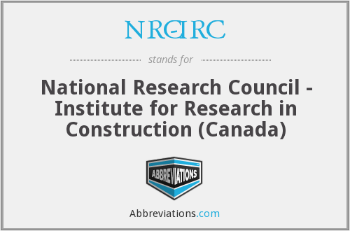 NRC-IRC - National Research Council - Institute for Research in Construction (Canada)