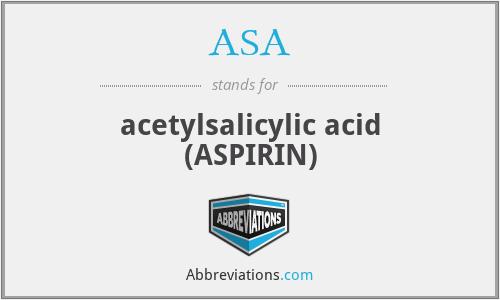 ASA - acetylsalicylic acid (ASPIRIN)