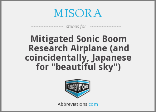 MISORA - Mitigated Sonic Boom Research Airplane (and coincidentally, Japanese for