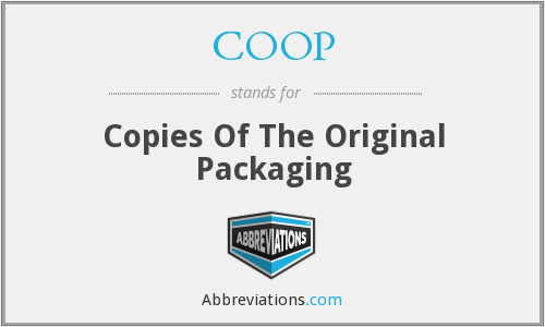 COOP - Copies Of The Original Packaging