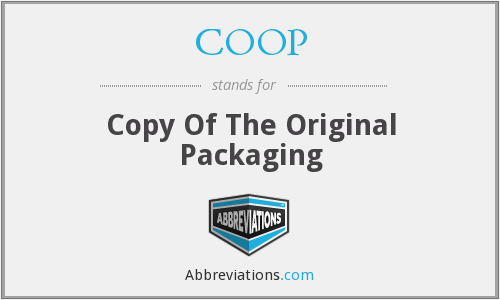 COOP - Copy Of The Original Packaging