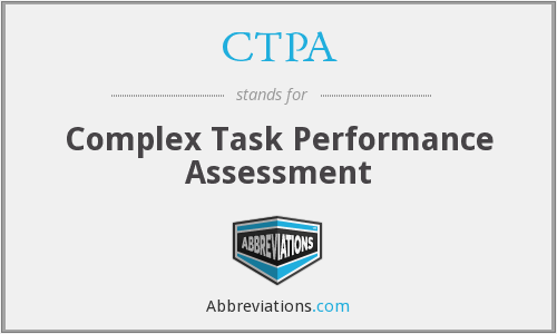 CTPA - Complex Task Performance Assessment