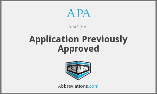 APA - Application Previously Approved